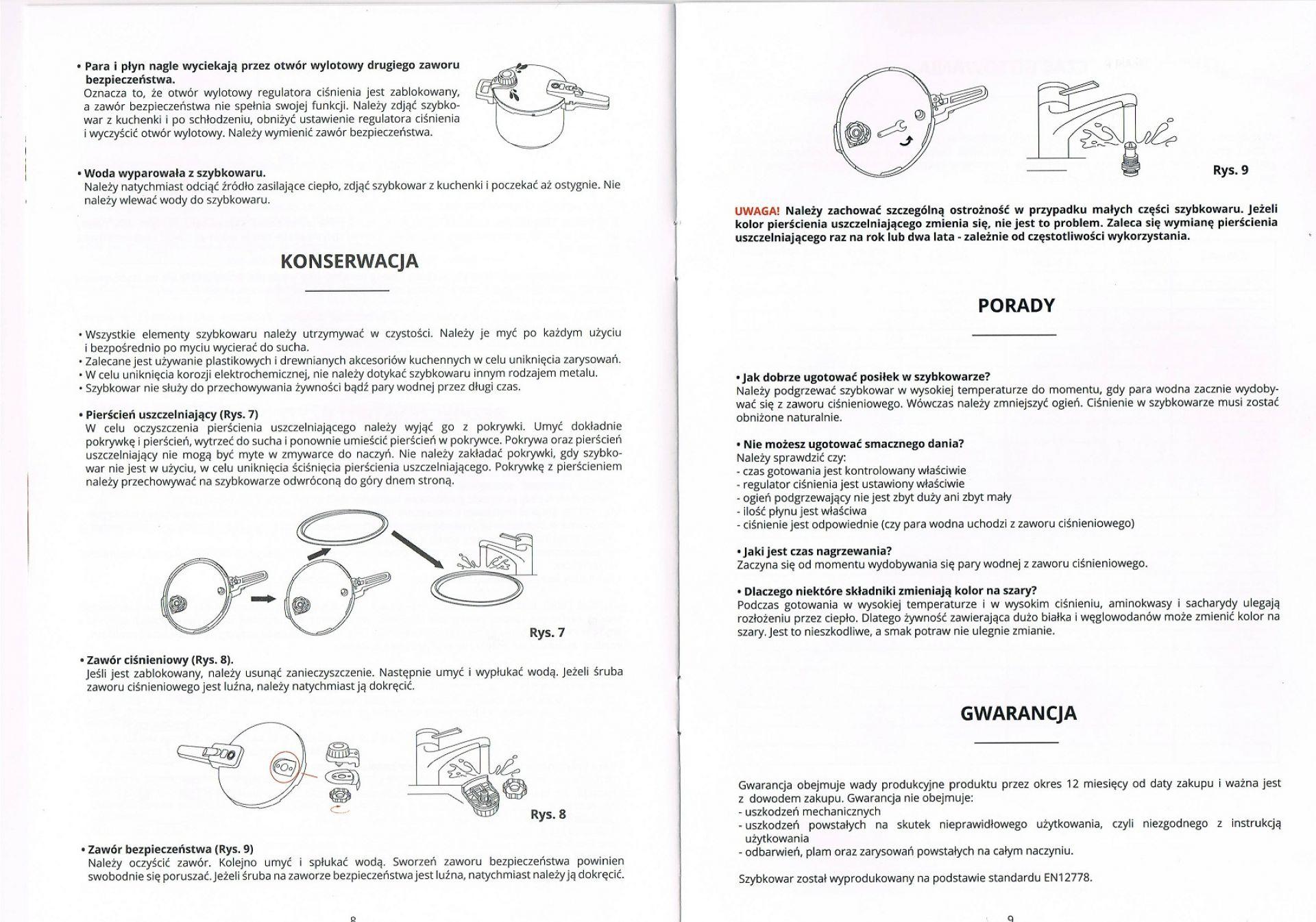 Instrukcja Obsługi Szybkowaru Gerlach 323b Z Rączką